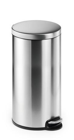 Durable Papelera de Pedal Redonda 30L – Acero Inoxidable – Antihuellas – Base Antideslizante