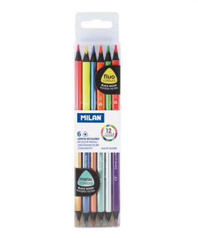 Milan Pack de 6 Lapices Bicolores Triangulares – Mina de 2.9mm – Forma Ergonómica – Resistente a la Rotura – Colores Fluo y Metalizados